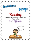 Reading Common Core Standards Checklist and Planning Tool -5th Grade
