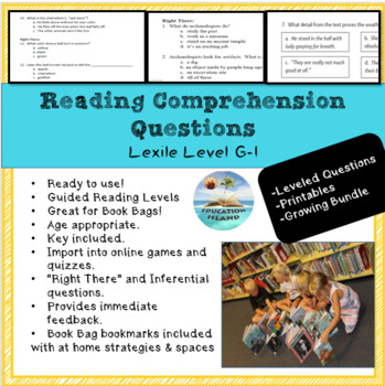 Reading Comp. Questions ; Lexile Levels G H I ; Growing Bundle ; Printables