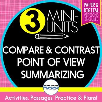 Reading Comp. Skills - Mini-Unit Bundle - Compare/Contrast, Summarizing, POV