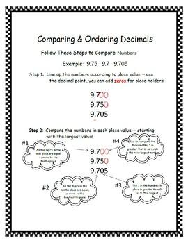 Reading & Comparing Decimals to Thousandths Game 5.NBT.A.3.B