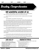 Reading Comprehension #1 The Wonderful Wizard of Oz