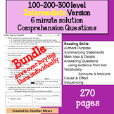 Reading Comprehension 100 200 300 level Intermediate 6 minute Solution Questions