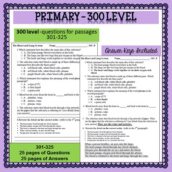 Reading Comprehension 100 - 300 level Primary 6 minute solution questions Bundle