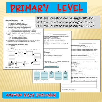 Reading Comprehension- 100 to 600 level Bundle 6 Minute Solution Questions