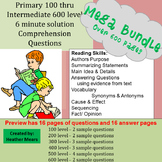 Reading Comprehension- 100 to 600 level Bundle 6 Minute So