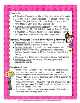 Reading Comprehension - 11 Passages for 3rd & 4th grade by Elementary Elephant