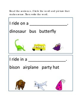 Reading Comprehension #11 Picture Clues Emergent Reader Cr