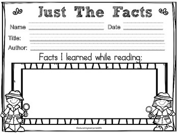 Just The Facts Graphic Organizer For Reading Comprehension