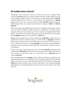 Bullying, or Do Bullies Have a Future? - Reading Comprehension 4
