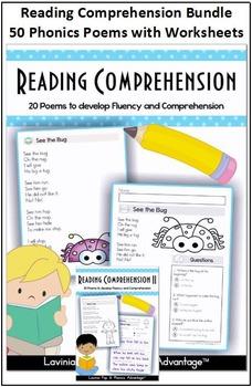 Reading Comprehension Bundle - 50 Phonics Poems with Worksheets