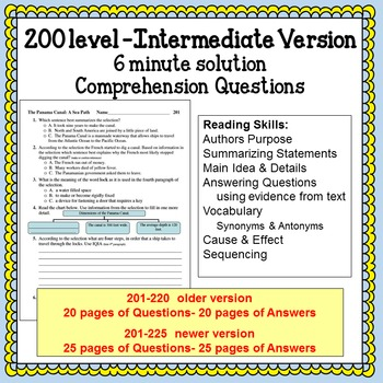 Reading Comprehension 200 level Intermediate