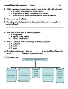 Reading Comprehension- 201 Primary Animal Habitats