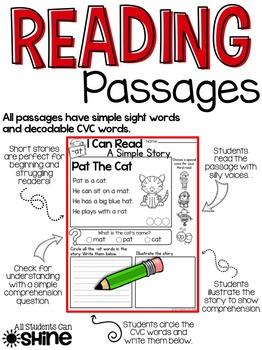 Reading Comprehension Passages ~ Short Vowels