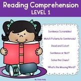 Reading Comprehension Worksheets Level 1