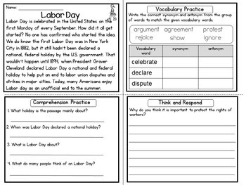 Reading Comprehension Passages Upper Elementary