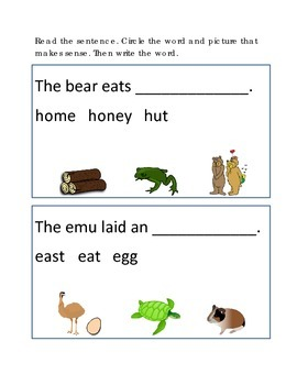 Reading Comprehension #3 Picture Clues Emergent Reader Cri