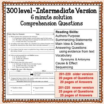 Reading Comprehension 300 level Intermediate