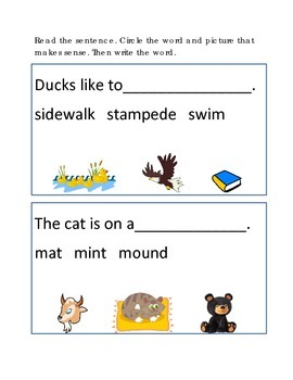 Reading Comprehension #5 Picture Clues Emergent Reader Cri