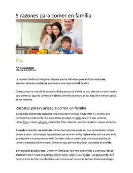 Reading Comprehension: 5 razones para comer en familia