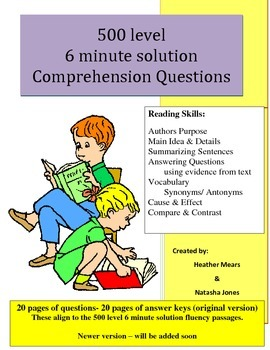 Reading Comprehension 500 level intermediate 6 minute solution questions