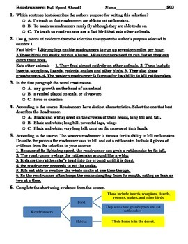 Reading Comprehension- 503 Roadrunners    6 minute solution questions