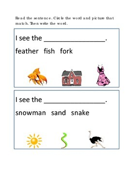 Reading Comprehension #6 Picture Clues Emergent Reader Critical Thinking Skills