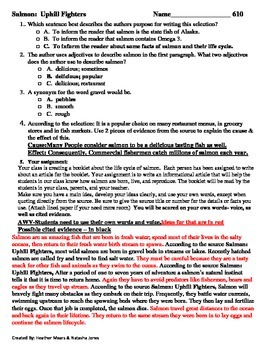 Reading Comprehension- 610 Salmon Uphill Fighters 6 minute solution