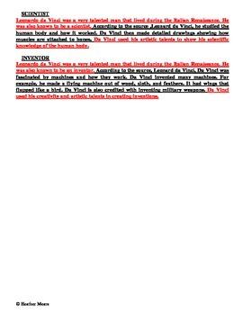 Reading Comprehension- 612 Leonardo da Vinci 6 minute solution