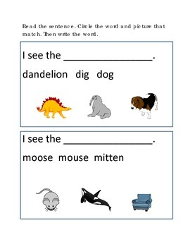 Reading Comprehension #7 Picture Clues Emergent Reader Cri