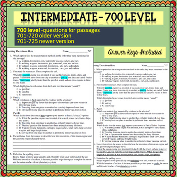 Reading Comprehension 700 level 6 minute solution questions