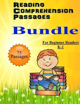 Reading Comprehension 75 passages for beginners K-1 BUNDLE