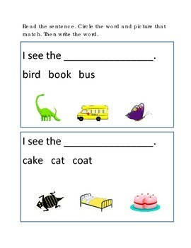 Reading Comprehension #8 Picture Clues Emergent Reader Cri