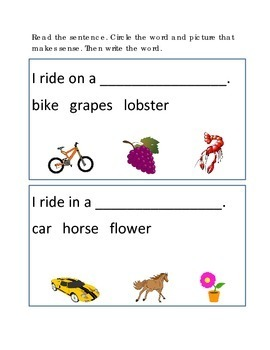 Reading Comprehension #9 Picture Clues Emergent Reader Cri