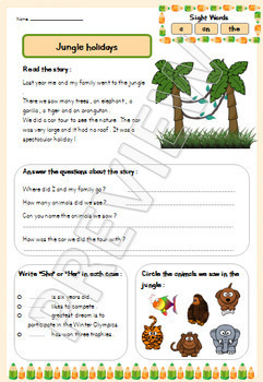 Reading Comprehension Activities - Grades 1 and 2 - Worksheets - Not Cursive