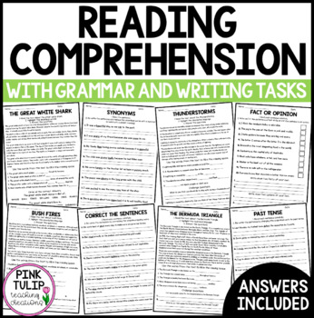 Reading Comprehension Activities - Information Reports with Grammar and Spelling
