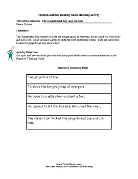 Reading Comprehension Activities for The Gingerbread Boy story