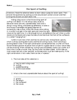 Reading Comprehension Activity SPORT of SURFING Main Ideas/Details/Cause-Effects