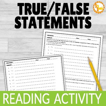 Reading Comprehension Activity True False Statements