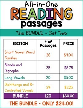 Phonics Reading Comprehension Passages And Questions All-in-One Bundle SET TWO