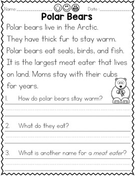 Reading Comprehension Animal Themed