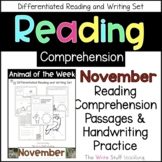 Reading Comprehension Animal of the Week November