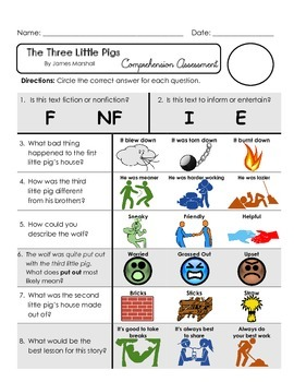 Reading Comprehension Quiz [High Level Questions] THREE LITTLE PIGS