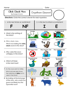 Reading Comprehension Assessment [High Level Questions] CLICK CLACK MOO