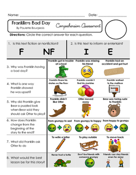 Reading Comprehension Assessment [High Level Questions] FRANKLIN'S BAD DAY