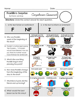 Reading Comprehension Assessment [High Level Questions] FRANKLIN'S SURPRISE