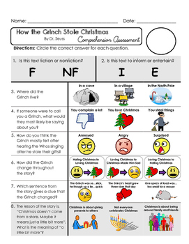 Reading Comprehension Assessment [High Level Questions] Grinch Stole Christmas