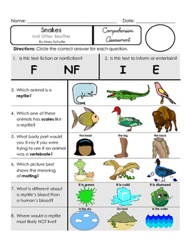 Reading Comprehension Assessment [High Level] (NONfiction) SNAKES REPTILES