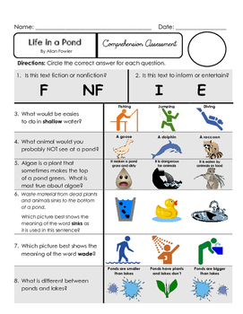 Reading Comprehension Assessment [High Level Questions] (NONfiction) POND LIFE