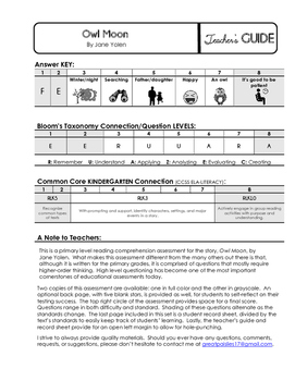 Reading Comprehension Assessment [High Level Questions] OWL MOON