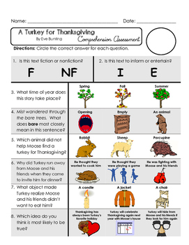 Reading Comprehension Assessment [High Level Questions] TURKEY FOR THANKSGIVING